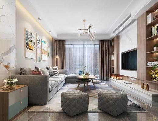 沙发组合, 吊灯, 茶几, 装饰画, 边几, 摆件