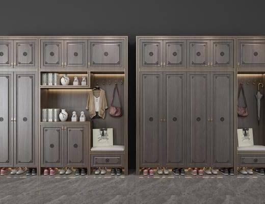 鞋柜, 装饰柜, 服饰, 鞋子, 陈设品, 装饰品, 新中式