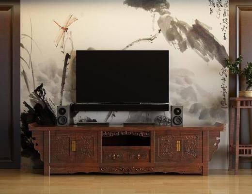 电视柜, 边柜, 装饰架, 盆栽, 绿植, 新中式