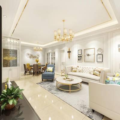 简欧, 欧式, 简欧客厅, 沙发组合, 沙发茶几组合, 简欧沙发