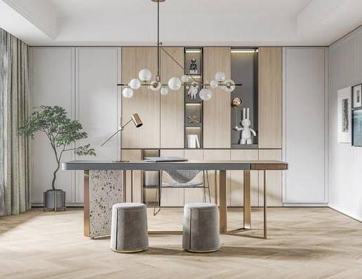 书桌, 桌椅组合, 吊灯, 装饰画, 植物