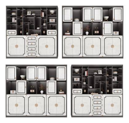 酒柜, 新中式酒柜, 装饰柜, 摆件组合