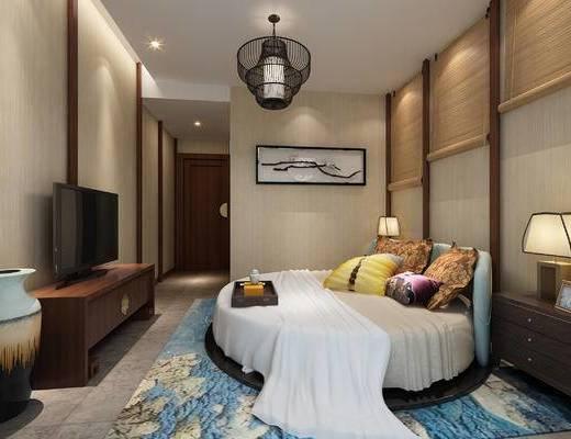 客房, 卧室, 圆床, 酒店客房, 电视柜