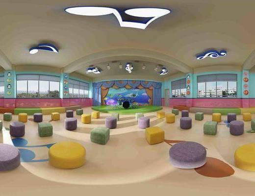现代清沐幼儿园音乐教室全景, 室内植物, 架子鼓