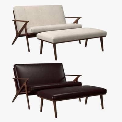 双人沙发, 沙发, 脚踏, 沙发凳, 现代
