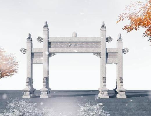 古建, 牌坊, 中式古建牌坊3d模型