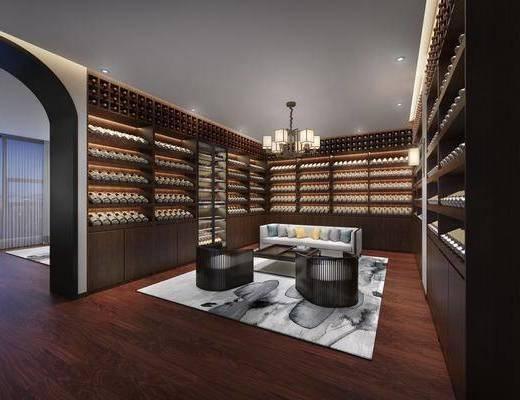 藏酒阁, 酒窖, 酒柜, 酒瓶, 多人沙发, 茶几, 吊灯, 单人沙发, 新中式