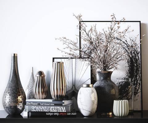 擺件組合, 花瓶擺件, 書籍, 裝飾畫