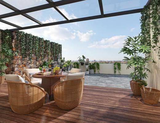 现代, 阳台, 花园