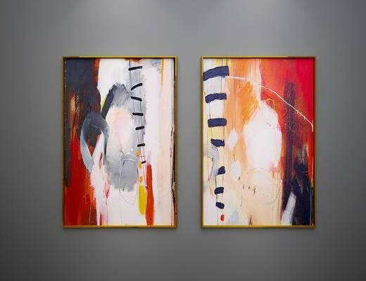 现代, 挂画, 抽象, 色彩, 水彩