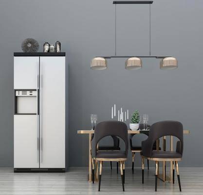 桌椅组合, 餐桌, 单人椅, 吊灯, 冰箱, 餐具, 双门冰箱, 现代