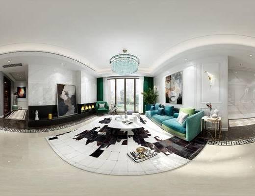 现代客厅, 现代餐厅, 全景模型, 沙发, 餐桌, 茶几