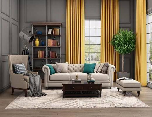 沙发组合, 美式沙发组合, 单人沙发, 茶几, 沙发凳, 书架, 书籍, 摆件, 落地灯, 美式