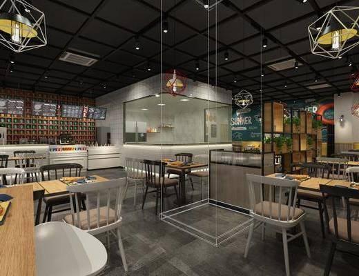 餐厅, 桌椅组合, 吊灯, 墙饰, 装饰柜