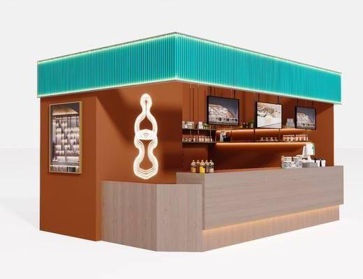 北欧现代简约轻奢咖啡厅吧台