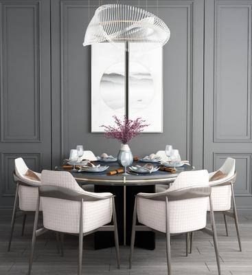 桌椅组合, 餐桌, 餐椅, 单人椅, 餐具, 装饰画, 挂画, 新中式