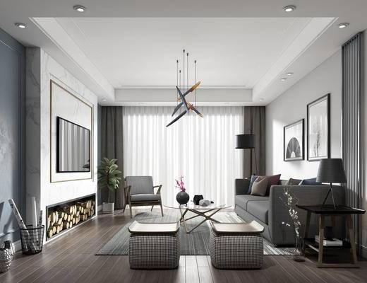 客厅, 沙发组合, 吊灯, 单椅, 装饰画, 北欧客厅