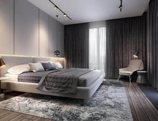 灯具, 窗帘, 单椅, 双人床, 地毯