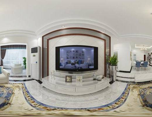 简欧客餐厅, 简欧客厅, 简欧沙发, 沙发组合, 沙发茶几组合, 电视柜