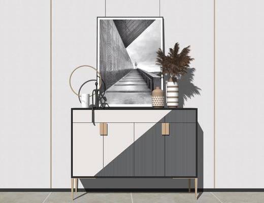 边柜, 装饰柜, 摆件组合, 花瓶, 装饰画