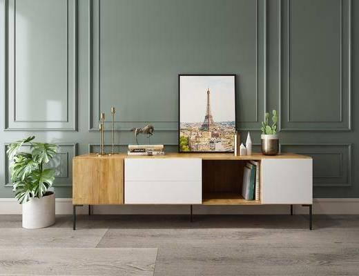 电视柜, 装饰柜, 边柜, 装饰画, 摆件, 盆栽, 北欧简约