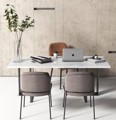 办公桌, 办公椅, 花瓶, 办公品