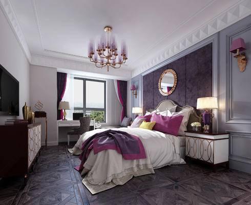 简欧卧室, 简欧, 欧式床, 床头柜, 金属吊灯, 椅子, 电视柜