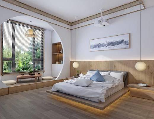 双人床, 吊灯, 装饰画, 投影仪