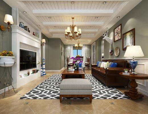 客厅, 美式, 地中海, 沙发组合, 电视墙, 壁灯, 吊灯, 装饰画