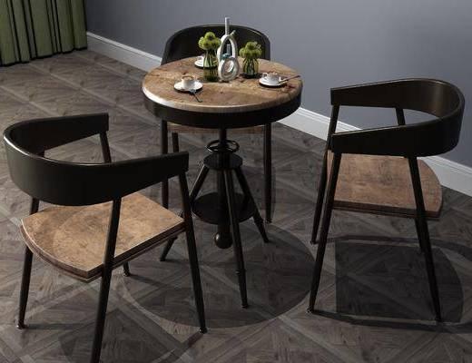 咖啡桌, 桌椅组合, 工业风, 摆件组合