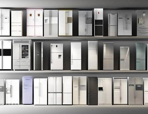 双开门, 冰箱, 冰柜, 电器