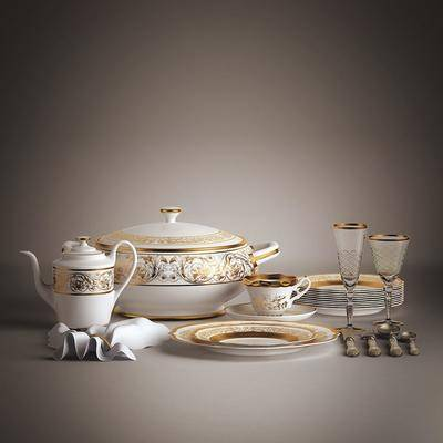 水壶, 碟子, 杯子, 布, 餐具, 欧式