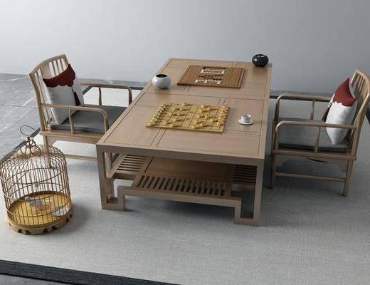 中式茶桌, 茶桌, 桌椅组合