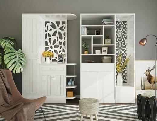 现代置物柜, 置物柜, 绿植, 现代