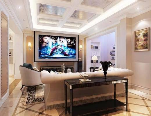 吧台, 影音室, 吧椅, 吊灯, 旋转楼梯, 装饰画, 电视, 单椅