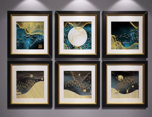 裝飾掛畫, 掛畫組合, 三聯畫, 藝術畫, 山水畫, 新中式