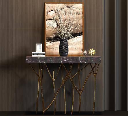 装饰柜架, 端景台, 摆件组合, 花瓶, 装饰画