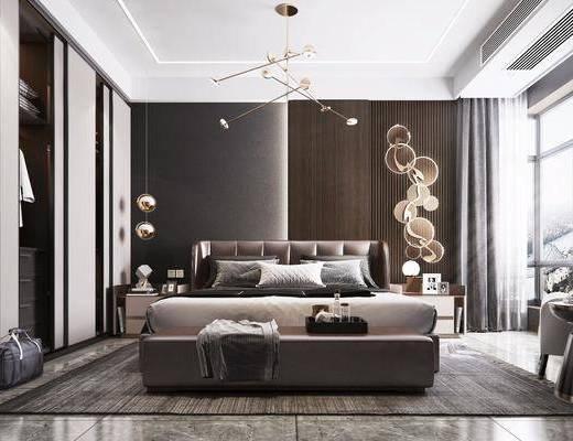 現代, 臥室, 雙人床, 主臥