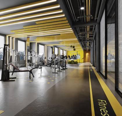现代, 工业风, 健身房, 跑步机, 器材, 设备