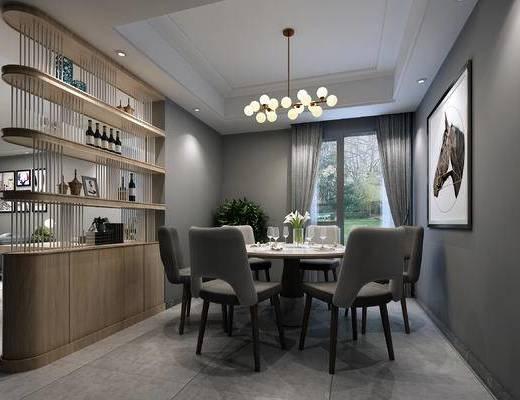 现代, 餐桌, 酒柜, 挂画, 吊灯