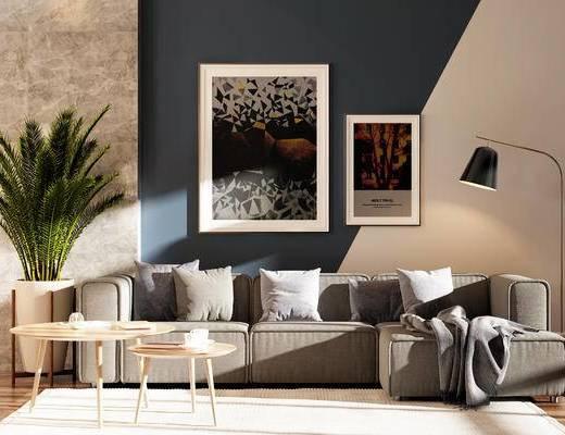 装饰画, 落地灯, 盆栽, 茶几, 抱枕, 植物