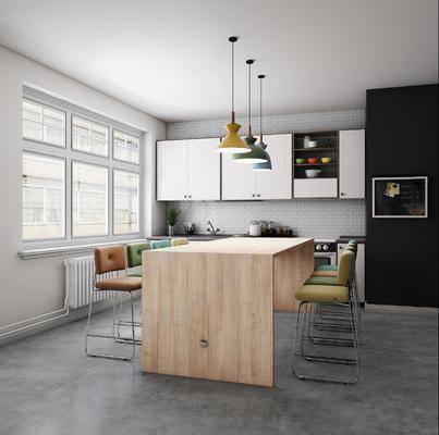 餐厅, 餐桌, 餐椅, 单人椅, 橱柜, 装饰柜, 吊灯, 摆件, 北欧