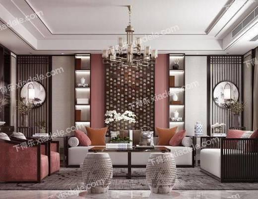 客廳, 沙發組合, 沙發茶幾組合, 裝飾柜組合, 擺件組合, 裝飾品組合, 新中式