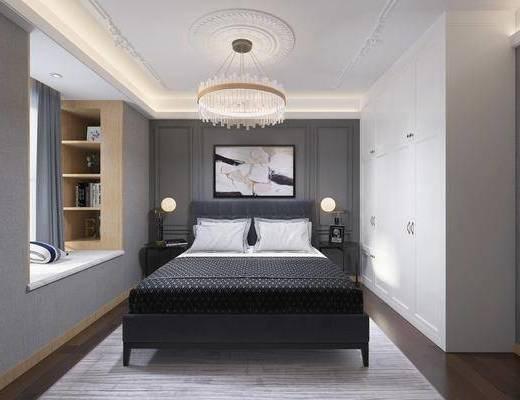 卧室, 简欧卧室, 床具组合, 衣柜, 摆件, 床头柜, 吊灯, 简欧