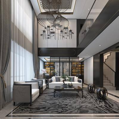 新中式客厅, 中式客厅, 新中式沙发, 沙发组合, 沙发茶几组合, 吊灯