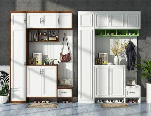 鞋柜, 简欧鞋柜, 装饰柜, 摆件, 装饰品, 植物, 盆栽, 鞋子, 简欧
