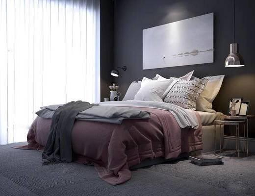 现代, 床具, 双人床, 圆几, 吊灯, 壁灯, 挂画, 墙画