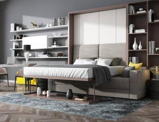 双人床, 置物架, 书柜, 书籍, 单人椅, 装饰品, 陈设品, 电脑桌, 现代