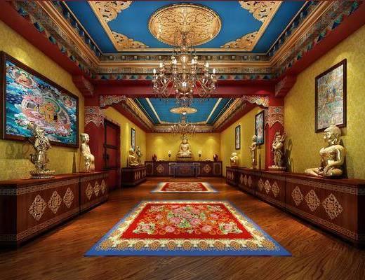 邊柜, 裝飾畫, 臺燈, 中式