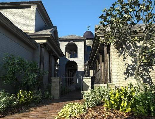 庭院小景, 別墅, 門面門頭, 樹木, 綠植植物, 現代